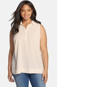 Sejour Split Neck Sleeveless Woven Shirt
